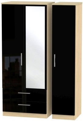 Knightsbridge 3 Door 2 Left Drawer Combi Wardrobe - High Gloss Black and Light Oak