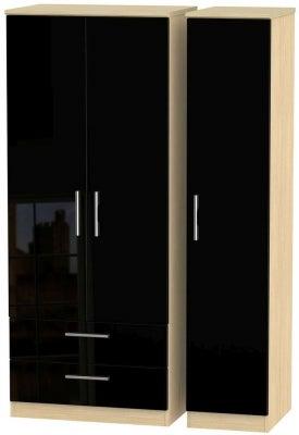 Knightsbridge 3 Door 2 Left Drawer Wardrobe - High Gloss Black and Light Oak