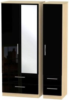 Knightsbridge 3 Door 4 Drawer Combi Wardrobe - High Gloss Black and Light Oak