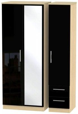 Knightsbridge 3 Door 2 Right Drawer Combi Wardrobe - High Gloss Black and Light Oak