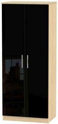 Knightsbridge 2 Door Wardrobe - High Gloss Black and Light Oak