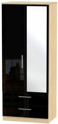 Knightsbridge 2 Door Combi Wardrobe - High Gloss Black and Light Oak