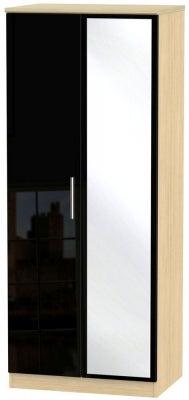 Knightsbridge 2 Door Mirror Wardrobe - High Gloss Black and Light Oak
