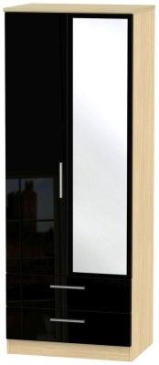 Knightsbridge 2 Door Tall Combi Wardrobe - High Gloss Black and Light Oak