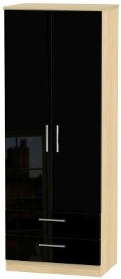 Knightsbridge 2 Door 2 Drawer Tall Wardrobe - High Gloss Black and Light Oak