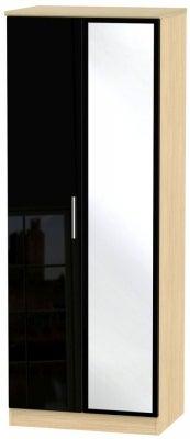 Knightsbridge 2 Door Tall Mirror Wardrobe - High Gloss Black and Light Oak