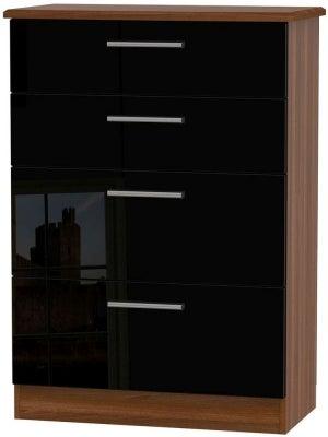Knightsbridge 4 Drawer Deep Chest - High Gloss Black and Noche Walnut