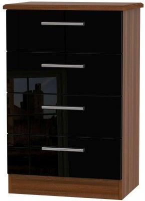 Knightsbridge 4 Drawer Midi Chest - High Gloss Black and Noche Walnut