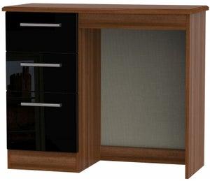 Knightsbridge Single Pedestal Dressing Table - High Gloss Black and Noche Walnut