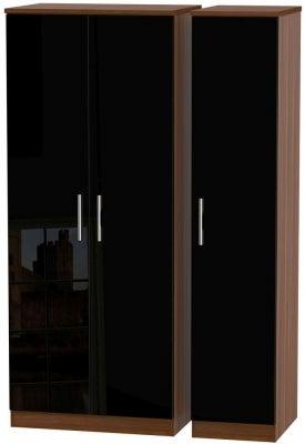 Knightsbridge 3 Door Wardrobe - High Gloss Black and Noche Walnut