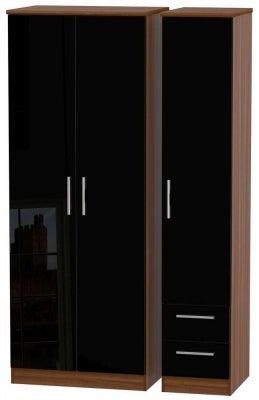 Knightsbridge 3 Door 2 Right Drawer Tall Wardrobe - High Gloss Black and Noche Walnut