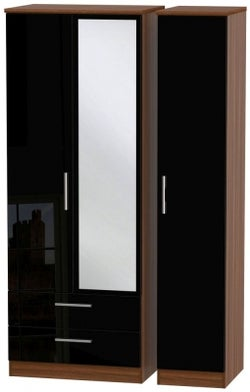 Knightsbridge 3 Door 2 Left Drawer Tall Combi Wardrobe - High Gloss Black and Noche Walnut