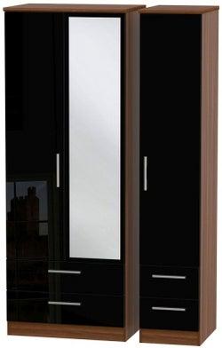 Knightsbridge 3 Door 4 Drawer Tall Combi Wardrobe - High Gloss Black and Noche Walnut