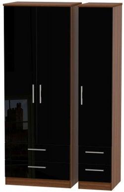 Knightsbridge 3 Door 4 Drawer Tall Wardrobe - High Gloss Black and Noche Walnut