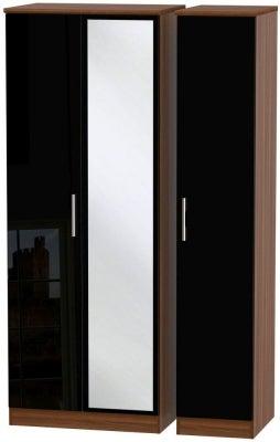 Knightsbridge 3 Door Tall Mirror Wardrobe - High Gloss Black and Noche Walnut