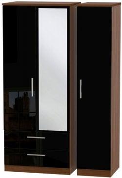 Knightsbridge 3 Door 2 Left Drawer Combi Wardrobe - High Gloss Black and Noche Walnut