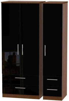 Knightsbridge 3 Door 4 Drawer Wardrobe - High Gloss Black and Noche Walnut