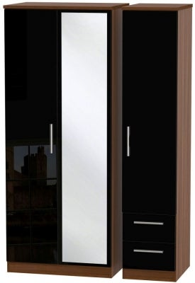Knightsbridge 3 Door 2 Right Drawer Combi Wardrobe - High Gloss Black and Noche Walnut