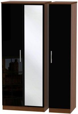 Knightsbridge 3 Door Mirror Wardrobe - High Gloss Black and Noche Walnut