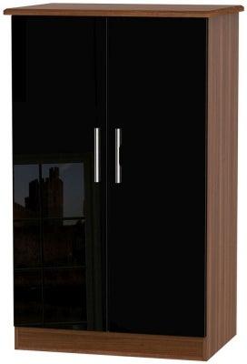 Knightsbridge 2 Door Midi Wardrobe - High Gloss Black and Noche Walnut