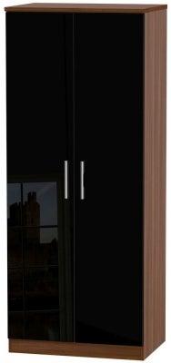 Knightsbridge 2 Door Wardrobe - High Gloss Black and Noche Walnut