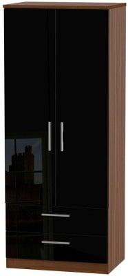 Knightsbridge 2 Door 2 Drawer Wardrobe - High Gloss Black and Noche Walnut