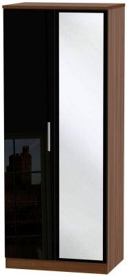 Knightsbridge 2 Door Mirror Wardrobe - High Gloss Black and Noche Walnut
