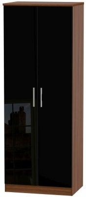 Knightsbridge 2 Door Tall Wardrobe - High Gloss Black and Noche Walnut