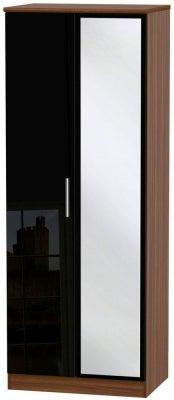 Knightsbridge 2 Door Tall Mirror Wardrobe - High Gloss Black and Noche Walnut