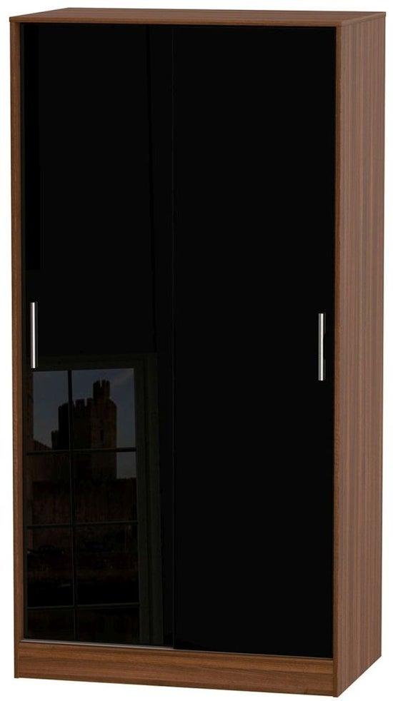 Knightsbridge 2 Door Sliding Wardrobe - High Gloss Black and Noche Walnut
