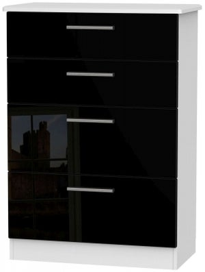 Knightsbridge 4 Drawer Deep Chest - High Gloss Black and White