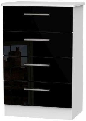 Knightsbridge 4 Drawer Midi Chest - High Gloss Black and White