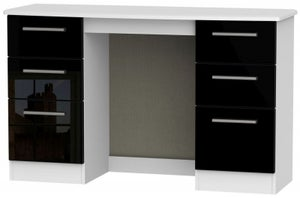 Knightsbridge Double Pedestal Dressing Table - High Gloss Black and White
