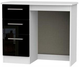 Knightsbridge Single Pedestal Dressing Table - High Gloss Black and White