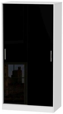 Knightsbridge 2 Door Sliding Wardrobe - High Gloss Black and White