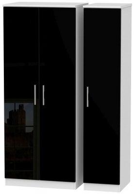 Knightsbridge 3 Door Wardrobe - High Gloss Black and White
