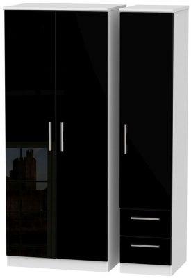 Knightsbridge 3 Door 2 Right Drawer Wardrobe - High Gloss Black and White