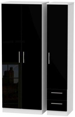 Knightsbridge 3 Door 2 Right Drawer Tall Wardrobe - High Gloss Black and White