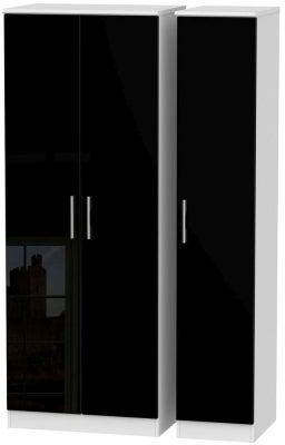 Knightsbridge 3 Door Tall Wardrobe - High Gloss Black and White