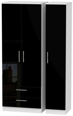 Knightsbridge 3 Door 2 Left Drawer Tall Wardrobe - High Gloss Black and White