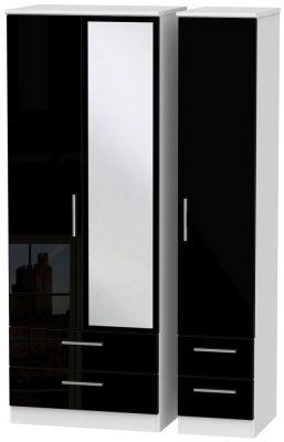 Knightsbridge 3 Door 4 Drawer Tall Combi Wardrobe - High Gloss Black and White