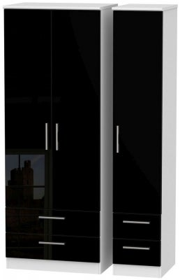 Knightsbridge 3 Door 4 Drawer Tall Wardrobe - High Gloss Black and White