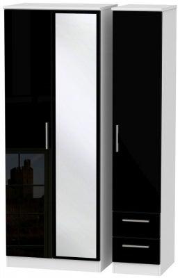 Knightsbridge 3 Door 2 Right Drawer Tall Combi Wardrobe - High Gloss Black and White