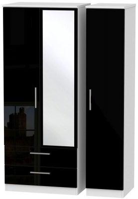 Knightsbridge 3 Door 2 Left Drawer Combi Wardrobe - High Gloss Black and White