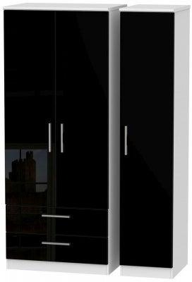 Knightsbridge 3 Door 2 Left Drawer Wardrobe - High Gloss Black and White