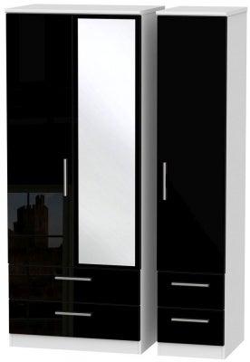 Knightsbridge 3 Door 4 Drawer Combi Wardrobe - High Gloss Black and White