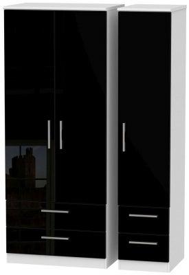 Knightsbridge 3 Door 4 Drawer Wardrobe - High Gloss Black and White