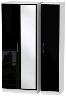 Knightsbridge 3 Door Mirror Wardrobe - High Gloss Black and White