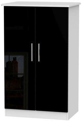 Knightsbridge 2 Door Midi Wardrobe - High Gloss Black and White