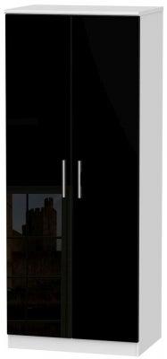 Knightsbridge 2 Door Plain Wardrobe - High Gloss Black and White